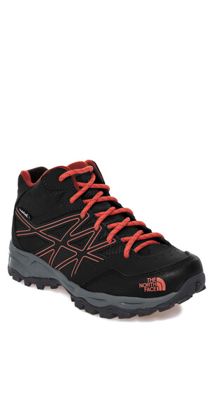 The North Face Hedgehog Hiker Mid WP Shoes Junior TNF black/mandarin red